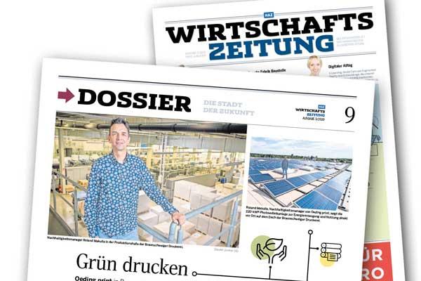 Titelseite HAZ Wirtschaftszeitung mit Beitrag zum Thema Grün Drucken