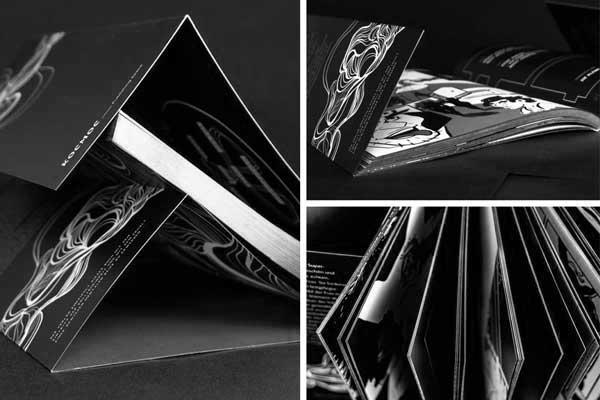 Verschiedene Ansichten einer Broschur mit tiefschwarzem Umschlag und Goldschnitt an den Seiten