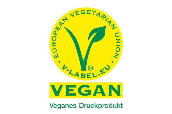 Grün-gelbes V-Label zur Kennzeichnung veganer Produkte