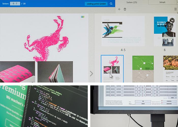 Komposition aus drei Bildern zum Thema Erstellung von digitalen Medien mit Abbildungen von Computerbildschirmen mit verschiedenen Eingabemasken und Programmcode