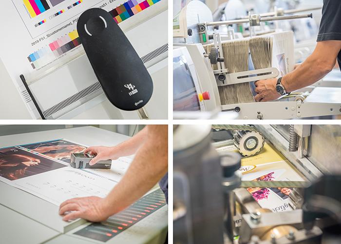 Komposition mit vier Bildern aus einer Druckerei mit Menschen, die verschiedene Tätigkeiten an Druckmaschinen und Weiterverarbeitungsmaschinen ausführen