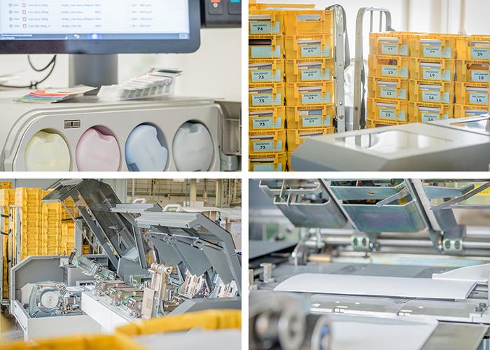 Komposition mit vier Bildern aus einem Lettershop mit gelben Boxen für Postwurfsendungen und verschiedenen Maschinen zur Kuvertierung und zum Digitaldruck