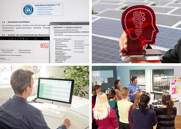 Komposition aus vier Bildern zum Thema Serviceleistungen mit Abbildungen eines Workshops, einer Auszeichnung, eines Computerbildschirms mit offenen Dokumenten und einer Rückenansicht eines Mannes vor einem Computer in einem hellen Raum mit einer großen Pflanze